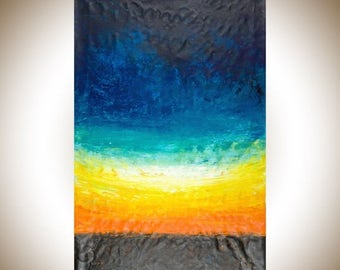 """Colorful art Extra Large wall art original artwork orange yellow white green blue home decor office decor  """"The Horizon"""" by QiQiGallery"""