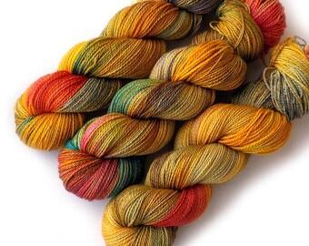 Hand Dyed Yarn Superwash Merino Sock Yarn, Golden Orchard, 375 yards