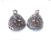 50% Off 2pc Tassel Tops, Antique Silver Medium Round Tassel Caps Dome Bead Caps 17x15mm, Loops: 2mm, Opening 13mm BC1087 A17