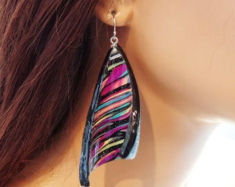 Polymer clay earrings, dangle, multi-colored