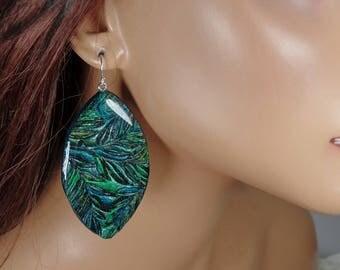Polymer clay earrings, black, green, blue, dangle