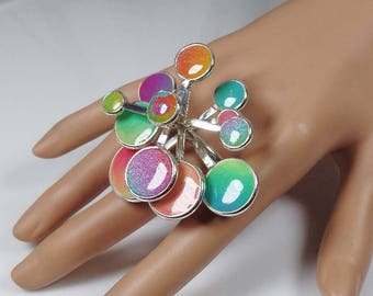 Sterling silver and polymer clay kinetic, spinning, big ring