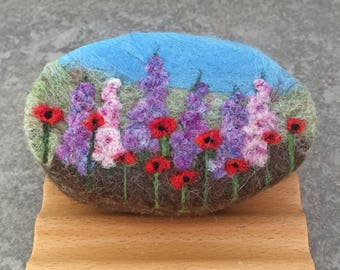 Felted Goat Milk Soap - Wildflower Themed and Scented with a Fresh Picked Garden Herb and Floral Fragrance