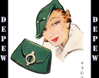 Vintage Sewing Pattern 1930's Beret Hat & Bag PDF Depew #3071 -INSTANT DOWNLOAD-