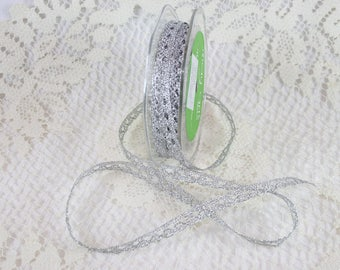 "3/8"" Metallic Crochet Ribbon - Silver"