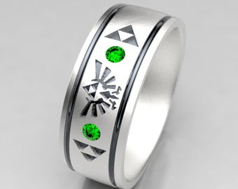 zelda wedding ring mens zelda silver wedding band with emerald size 9 ring - Emerald Wedding Ring