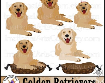 Golden Retriever set 1 - 6 PNG digital clipart graphics 300dpi on Doggy Pillow and with Christmas headband (Instant Download)