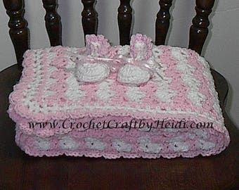 Baby Shower Blanket, Crocheted Afghan  Pink/White with Booties.