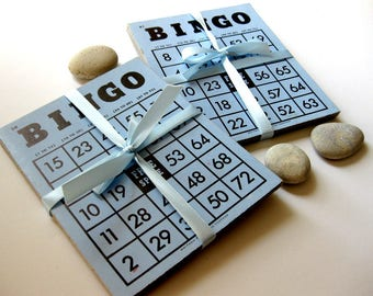 Vintage Blue Bingo Cards, 15, Whitman Publishing, for Baby Showers, Table Markers, Weddings