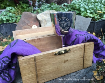 Altar Box and Chalice with Etched Pentacle Set