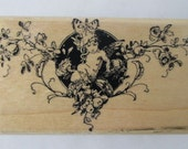 Vintage Rubber Stamp - Fairy With Butterfly - Retired Victorian Papers Fairy Rubber Stamp - Victoria Marketing - Victorian Rubber Stamp Co.