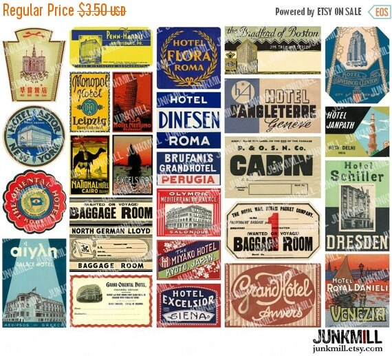 55% OFF SALE STEAMTRUNK Minis I - Digital Printable Collage Sheet - Vintage Travel Labels, Suitcase Luggage Labels from Europe, Asia, Instan