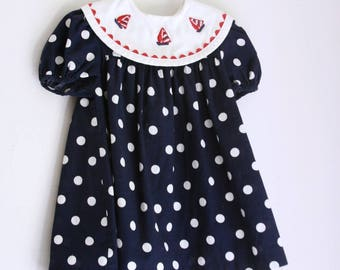 Vintage girls dress navy and white polka dots 4t 3t