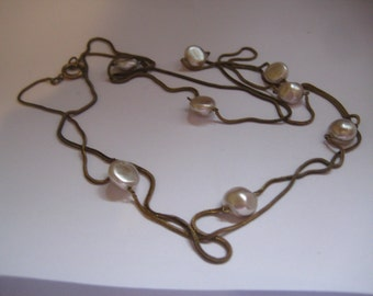 """20s Czech Flapper Chain and Baroque Pearls  58"""" Necklace"""