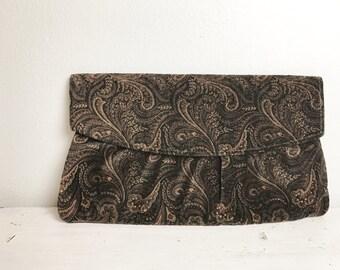 Vintage Velvet Black and Brown Paisley Clutch Handbag