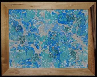 "Fiber Art Wall Hanging - marbled fabrics - home decor - White Denim Framed Wall Art ""Underwater Reef"""