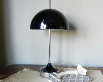 Vintage half dome black and silver metal desk table lamp art deco mid century modern style silver includes two new bulbs