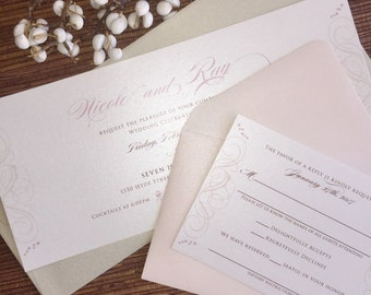 Elegant Wedding Invitation / Swirl Flourish Custom Design / 9 x 4 Card