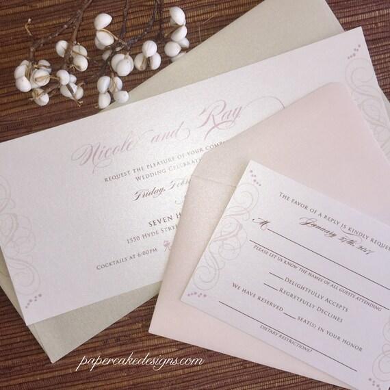 Wedding Invitation 9 X 4 Horizontal Card Calligraphy Swirl
