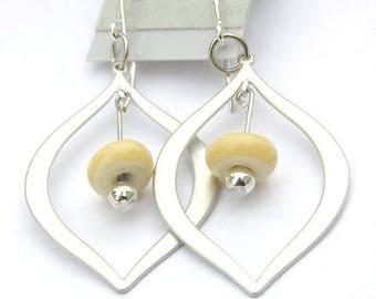 Modern Beige Earrings - Silver Teardrop Earrings - Cream Earrings - Minimalist Earrings - Glass Earrings - Off White Earrings - Tan Earrings