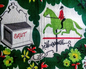 Vintage Barkcloth Fabric Novelty Print Mid Century 1950's Colonial Bark Cloth Green Fabric Remnant 1800's Weather Vanes Bicycle Salt Box