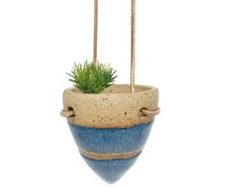 Small hanging air plant holder ceramic cute gift