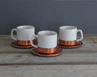 Set of Copper & Ceramic Expresso Cups w/ Saucers