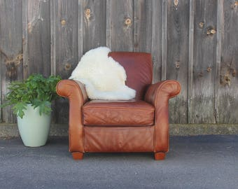 Worn Leather Bauhaus Club Chair