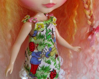 Pink cotton corduroy Trousers and asymetric cotton pixie elf Top with sequin trim for 12 inch Blythe dolls fairyland
