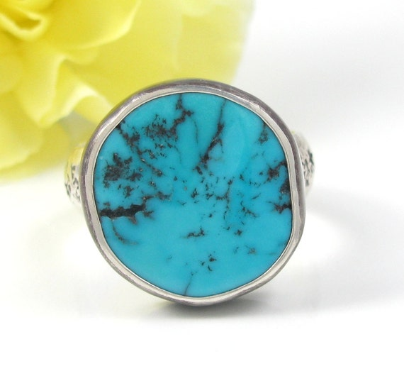 Sleeping Beauty Turquoise Ring - sterling silver turquoise ring with stars - natural bright blue turquoise ring - size 8 1/4 - size 8.25