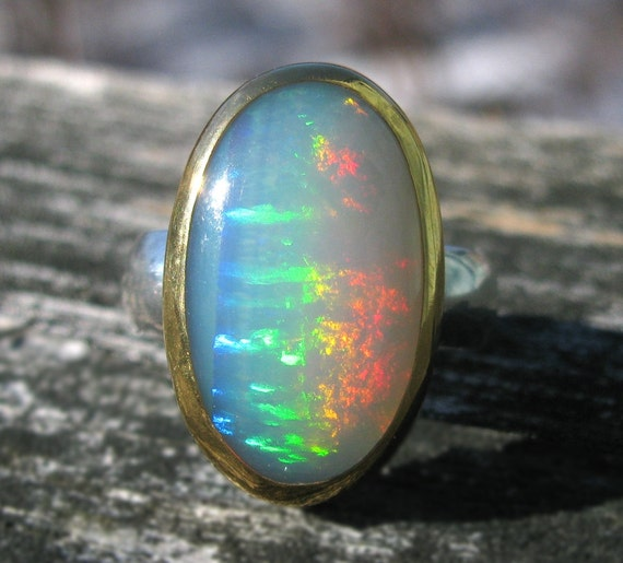 Welo Opal Ring - Sterling Silver and 22K Gold Opal ring - US size 8 3/4 - Natural Opal ring - Ethiopian Welo Opal Ring size 8.75
