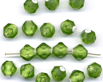 Vintage Plastic Beads 12mm Lime Green & White Faceted Rounds