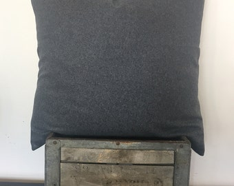 "Charcoal grey soft wool 22""x22"" pillow cover/ modern/ masculine/ neutral"