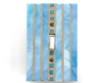 Blue Single Toggle Wall Plate, Decorative Switch Plate Covers, Stained Glass Switch Plate Cover, Light Switch Cover, Blue Glass, 8567