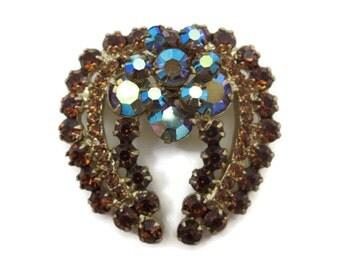 Juliana Jewelry Rhinestone Brooch - D&E, Ab Finish, Costume Jewelry, Topaz and Blue, Delizza and Elster