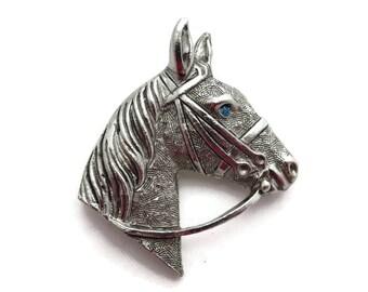 Silver Horse Brooch - Costume Jewelry, Blue Rhinestone Eye