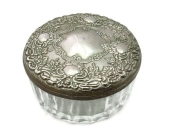 Glass Vanity Jar - Ornate Repousse Lid, Large, Silver Plate, Mirrored Lid