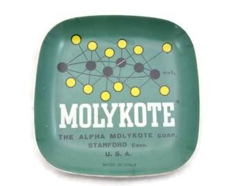 Mid Century Modern Melamine Tray Trinket Dish - Molykote 1960s Atomic Era Space Age Advertising Green Italy