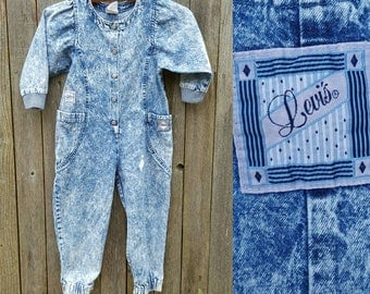 Vintage Kids Coveralls  // Vtg 80s LEVI'S Distressed Acid Wash Denim Jumpsuit // child size 3 / 4 yrs