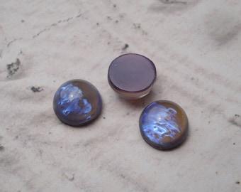 7mm Tanzanite Opal Czech Preciosa Flat Back Round Glass Cabs or Stones (6 pcs)