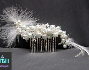 Feathered Bridal Hair Comb