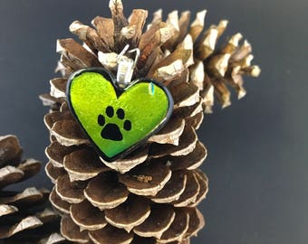 Lime green and yellow paw print heart pendant