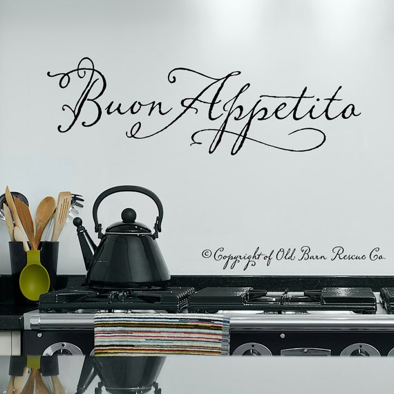 Wall decals kitchen - Buon Appetito Wall Decal - Italian Wall Art Decals - Wall Vinyl - Wall Stickers Quotes