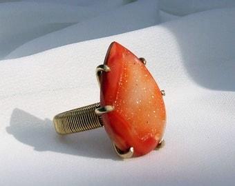 Druzy Ring, orange stone ring, prong set, ring size 6, drusy ring, druse ring