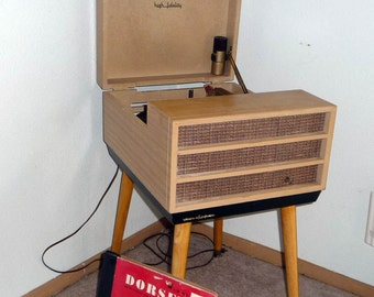 1958 Vintage Voice of Music Consolette  Record Player With Warranty