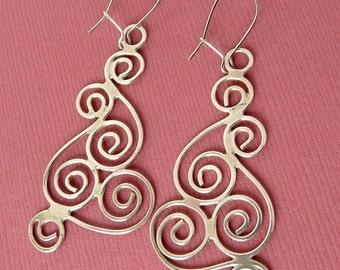 Modernist Silver Earrings Wire Work Spiral Circles Earrings