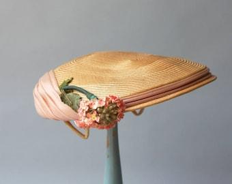 1950s Hat / Vintage 50s Golden Straw Hat / 50s Pale Pink Organza Floral Straw Hat