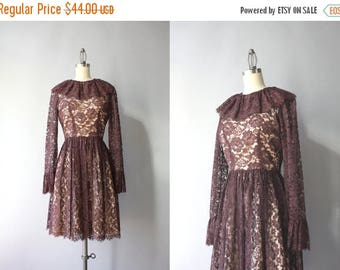STOREWIDE SALE Vintage 60s Dress / 1960s Illusion Lace Dress / Sixties Sheer Lace Scalloped Dress XS