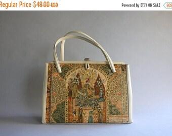 STOREWIDE SALE 1950s Purse / Vintage 50s Novelty Print Handbag / 50s 60s Printed Gold Rhinestone Novelty Bag