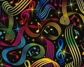 Music Notes Bright Black Timeless Treasures fabric 1 yard